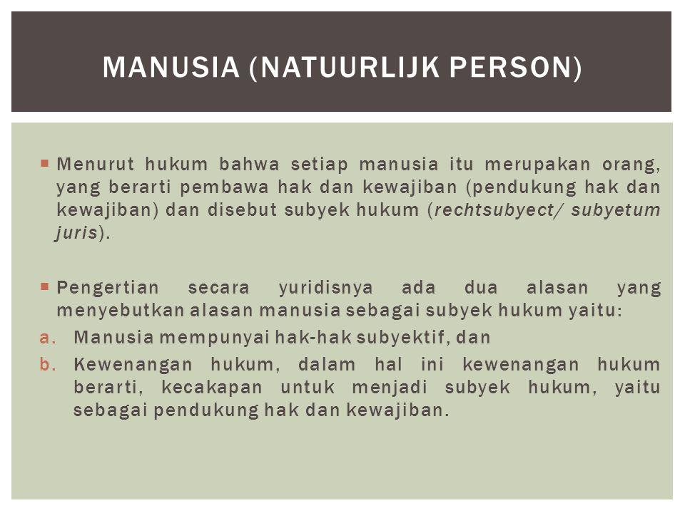  Menurut hukum bahwa setiap manusia itu merupakan orang, yang berarti pembawa hak dan kewajiban (pendukung hak dan kewajiban) dan disebut subyek huku