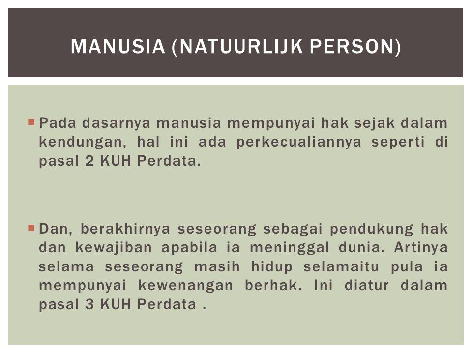  Badan hukum adalah subyek hukum ciptaan manusia pribadi berdasarkan hukum yang diberi hak dan kewajiban seprti manusia pribadi (Abdulkadir Muhammad, 1990:29).