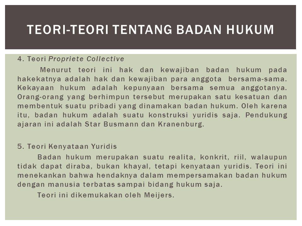 4. Teori Propriete Collective Menurut teori ini hak dan kewajiban badan hukum pada hakekatnya adalah hak dan kewajiban para anggota bersama-sama. Keka