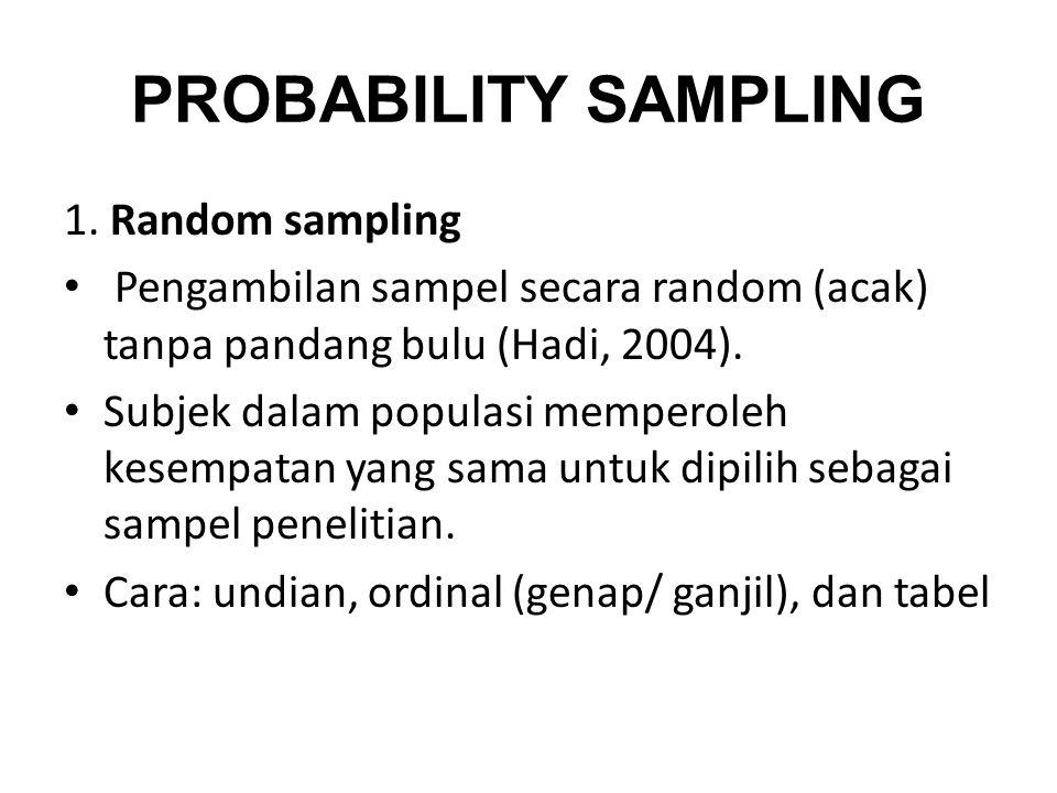 PROBABILITY SAMPLING 1. Random sampling Pengambilan sampel secara random (acak) tanpa pandang bulu (Hadi, 2004). Subjek dalam populasi memperoleh kese