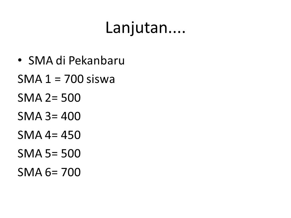 Lanjutan.... SMA di Pekanbaru SMA 1 = 700 siswa SMA 2= 500 SMA 3= 400 SMA 4= 450 SMA 5= 500 SMA 6= 700