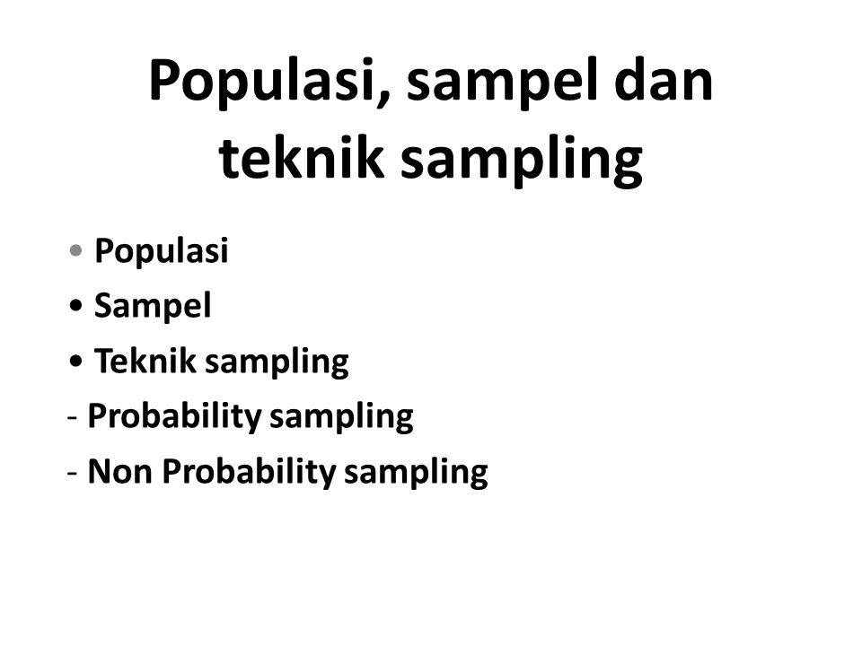 Populasi, sampel dan teknik sampling Populasi Sampel Teknik sampling - Probability sampling - Non Probability sampling