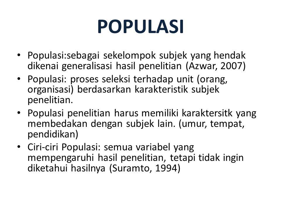 POPULASI Populasi:sebagai sekelompok subjek yang hendak dikenai generalisasi hasil penelitian (Azwar, 2007) Populasi: proses seleksi terhadap unit (or