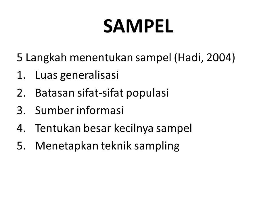 SAMPEL 5 Langkah menentukan sampel (Hadi, 2004) 1.Luas generalisasi 2.Batasan sifat-sifat populasi 3.Sumber informasi 4.Tentukan besar kecilnya sampel