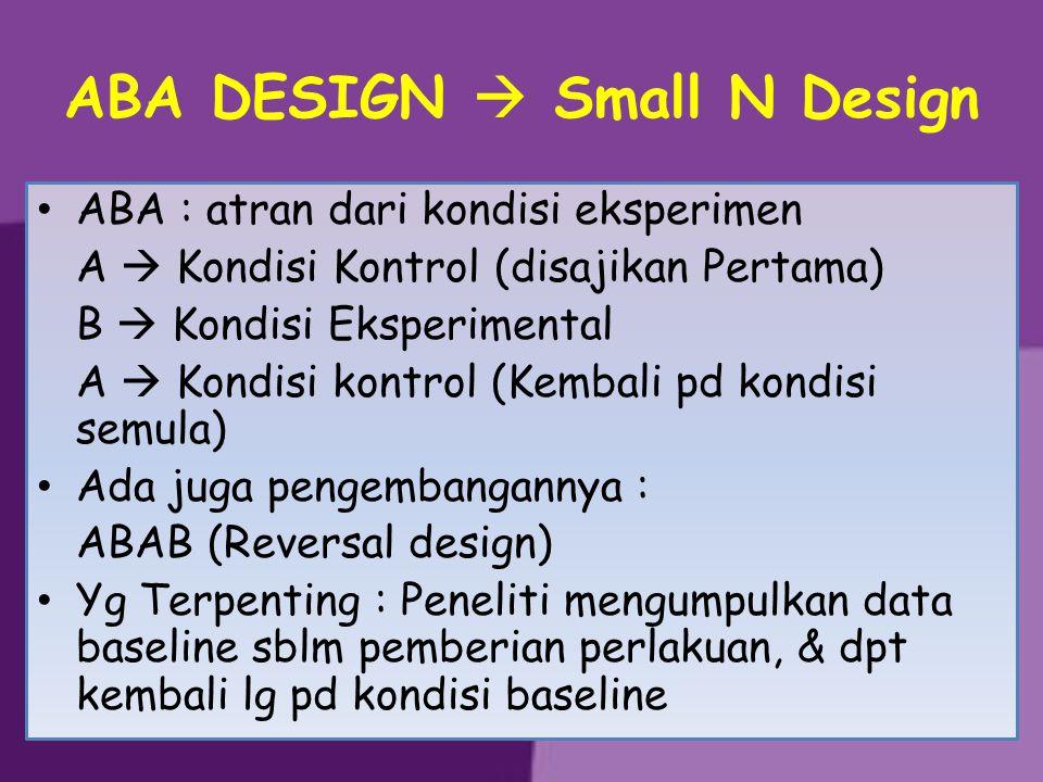 ABA DESIGN  Small N Design ABA : atran dari kondisi eksperimen A  Kondisi Kontrol (disajikan Pertama) B  Kondisi Eksperimental A  Kondisi kontrol