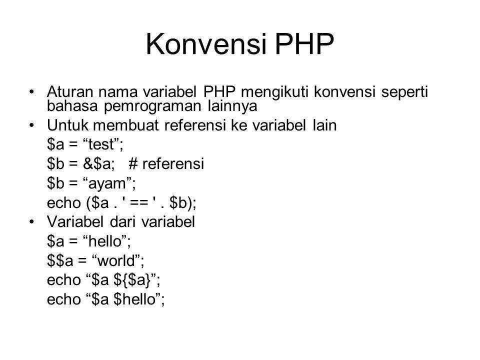 Konvensi PHP Aturan nama variabel PHP mengikuti konvensi seperti bahasa pemrograman lainnya Untuk membuat referensi ke variabel lain $a = test ; $b = &$a; # referensi $b = ayam ; echo ($a.