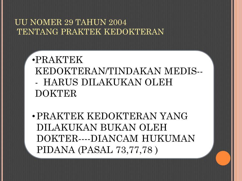 UU NOMER 29 TAHUN 2004 TENTANG PRAKTEK KEDOKTERAN PRAKTEK KEDOKTERAN/TINDAKAN MEDIS-- - HARUS DILAKUKAN OLEH DOKTER PRAKTEK KEDOKTERAN YANG DILAKUKAN