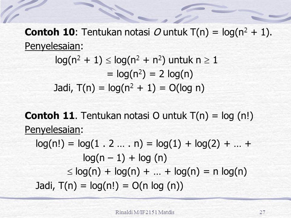 Rinaldi M/IF2151 Matdis27 Contoh 10: Tentukan notasi O untuk T(n) = log(n 2 + 1). Penyelesaian: log(n 2 + 1)  log(n 2 + n 2 ) untuk n  1 = log(n 2 )