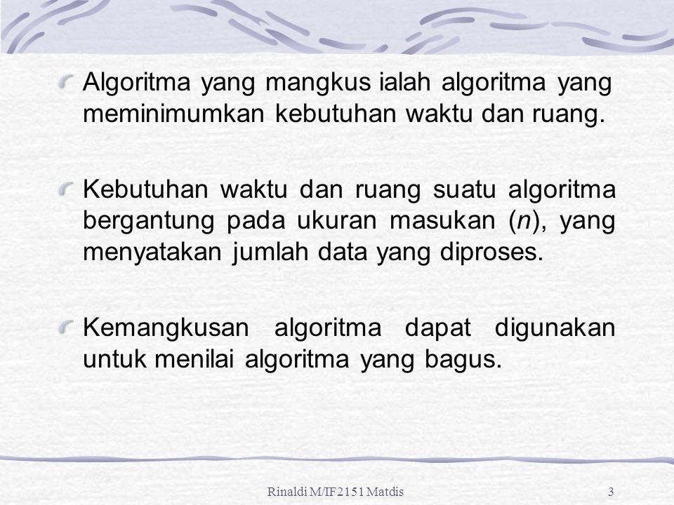 Rinaldi M/IF2151 Matdis3 Algoritma yang mangkus ialah algoritma yang meminimumkan kebutuhan waktu dan ruang. Kebutuhan waktu dan ruang suatu algoritma