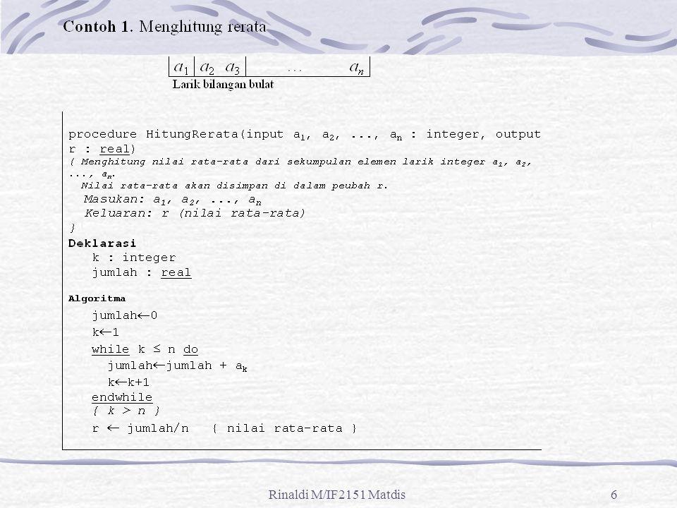 Rinaldi M/IF2151 Matdis27 Contoh 10: Tentukan notasi O untuk T(n) = log(n 2 + 1).