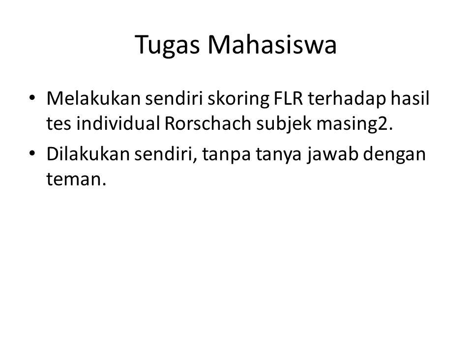 Tugas Mahasiswa Melakukan sendiri skoring FLR terhadap hasil tes individual Rorschach subjek masing2. Dilakukan sendiri, tanpa tanya jawab dengan tema