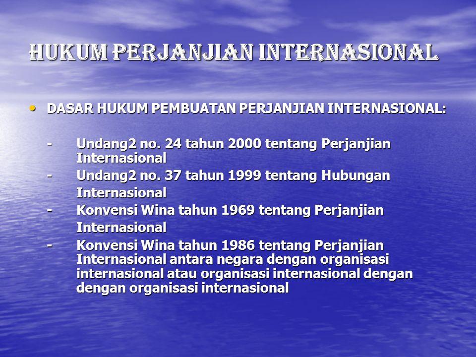 HUKUM PERJANJIAN INTErNASIONAL DASAR HUKUM PEMBUATAN PERJANJIAN INTERNASIONAL: DASAR HUKUM PEMBUATAN PERJANJIAN INTERNASIONAL: - Undang2 no. 24 tahun