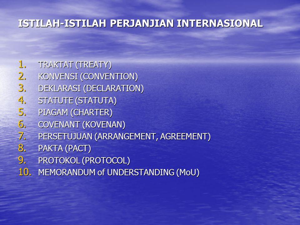 ISTILAH-ISTILAH PERJANJIAN INTERNASIONAL 1. TRAKTAT (TREATY) 2. KONVENSI (CONVENTION) 3. DEKLARASI (DECLARATION) 4. STATUTE (STATUTA) 5. PIAGAM (CHART