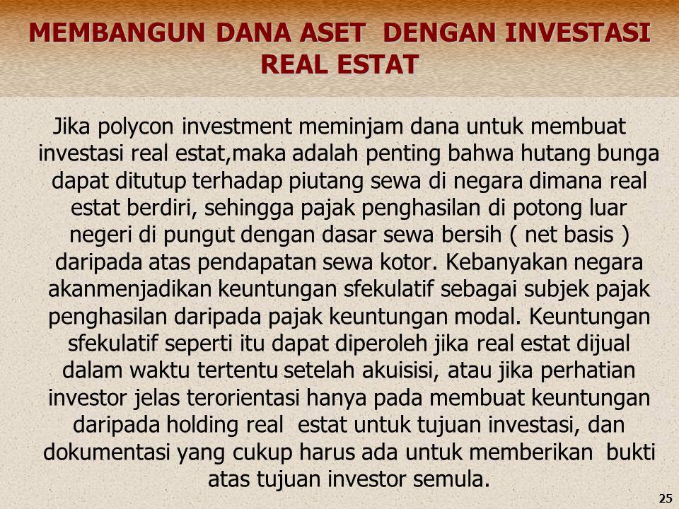 25 MEMBANGUN DANA ASET DENGAN INVESTASI REAL ESTAT Jika polycon investment meminjam dana untuk membuat investasi real estat,maka adalah penting bahwa