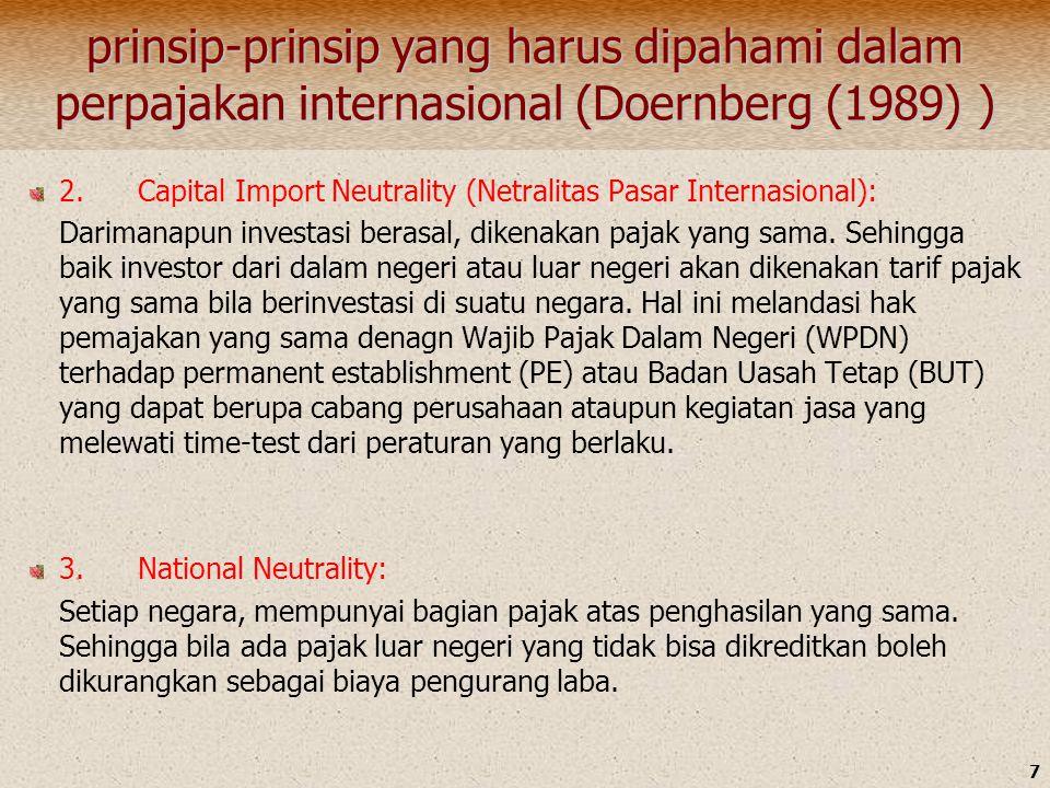 7 prinsip-prinsip yang harus dipahami dalam perpajakan internasional (Doernberg (1989) ) 2. Capital Import Neutrality (Netralitas Pasar Internasional)