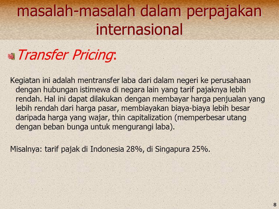 8 masalah-masalah dalam perpajakan internasional Transfer Pricing: Kegiatan ini adalah mentransfer laba dari dalam negeri ke perusahaan dengan hubunga