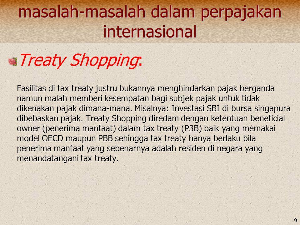 9 masalah-masalah dalam perpajakan internasional Treaty Shopping: Fasilitas di tax treaty justru bukannya menghindarkan pajak berganda namun malah mem