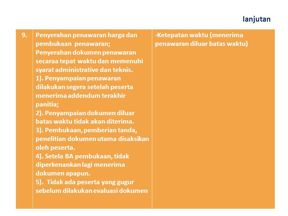lanjutan 8.Penjelasan lelang; Aanwijzing dilakukan tentang hal teknis maupun administrative agar tidak terjadi perbedaan persepsi maupun kekeliruan dalam pengajuan penawarannya.