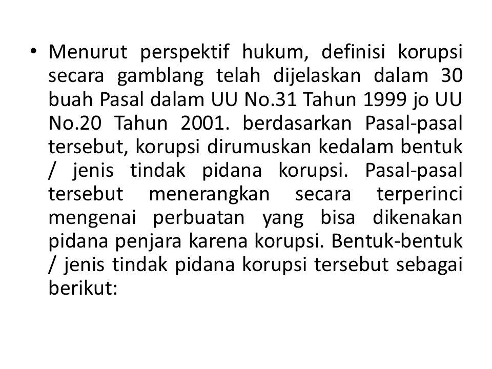 Secara yuridis, pengertian tindak pidana korupsi telah dituangkan dalam Undang-Undang Nomor : 31 Tahun 1999 tentang Pemberantasan Tindak Pidana Korupsi sebagai pengganti Undang-Undang Nomor : 3 Tahun 1971.