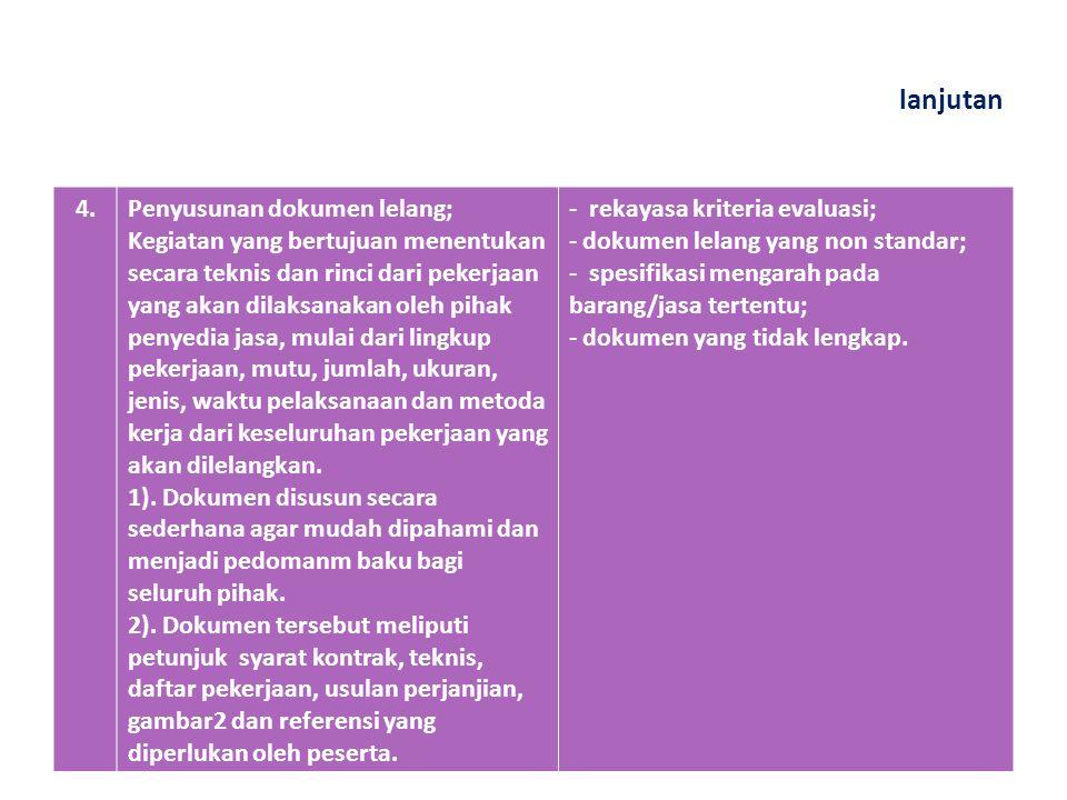 lanjutan 3.Prakualifikasi perusahaan; Adalah penentuan syarat administrasi, teknis dan pengalaman serta seleksi dari perusahaan, yang diperkirakan mampu untuk melaksanakan pekerjaan yang akan ditender.