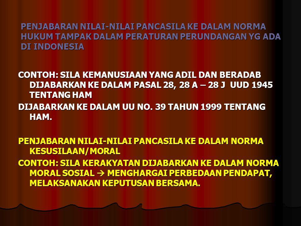 PENJABARAN NILAI-NILAI PANCASILA KE DALAM NORMA HUKUM TAMPAK DALAM PERATURAN PERUNDANGAN YG ADA DI INDONESIA CONTOH: SILA KEMANUSIAAN YANG ADIL DAN BE