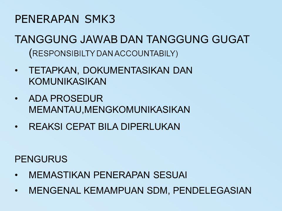 PENERAPAN SMK3 TANGGUNG JAWAB DAN TANGGUNG GUGAT ( RESPONSIBILTY DAN ACCOUNTABILY) TETAPKAN, DOKUMENTASIKAN DAN KOMUNIKASIKAN ADA PROSEDUR MEMANTAU,ME