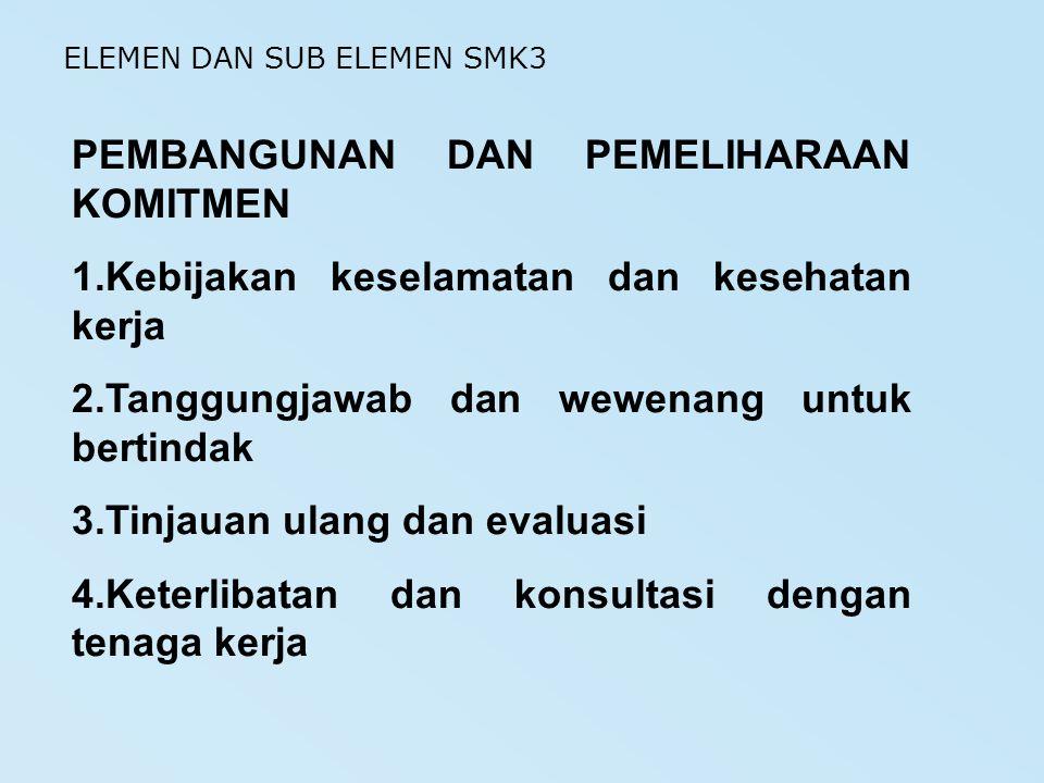 PEMBANGUNAN DAN PEMELIHARAAN KOMITMEN 1.Kebijakan keselamatan dan kesehatan kerja 2.Tanggungjawab dan wewenang untuk bertindak 3.Tinjauan ulang dan ev