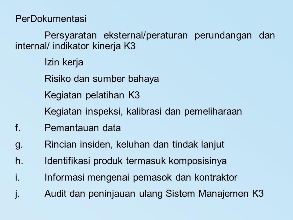 PerDokumentasi Persyaratan eksternal/peraturan perundangan dan internal/ indikator kinerja K3 Izin kerja Risiko dan sumber bahaya Kegiatan pelatihan K