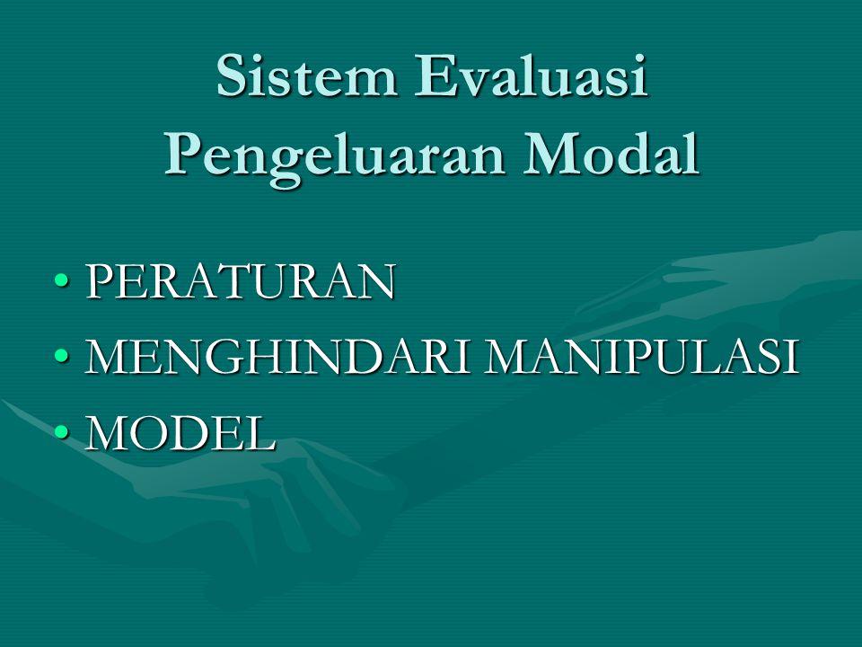 Sistem Evaluasi Pengeluaran Modal PERATURANPERATURAN MENGHINDARI MANIPULASIMENGHINDARI MANIPULASI MODELMODEL