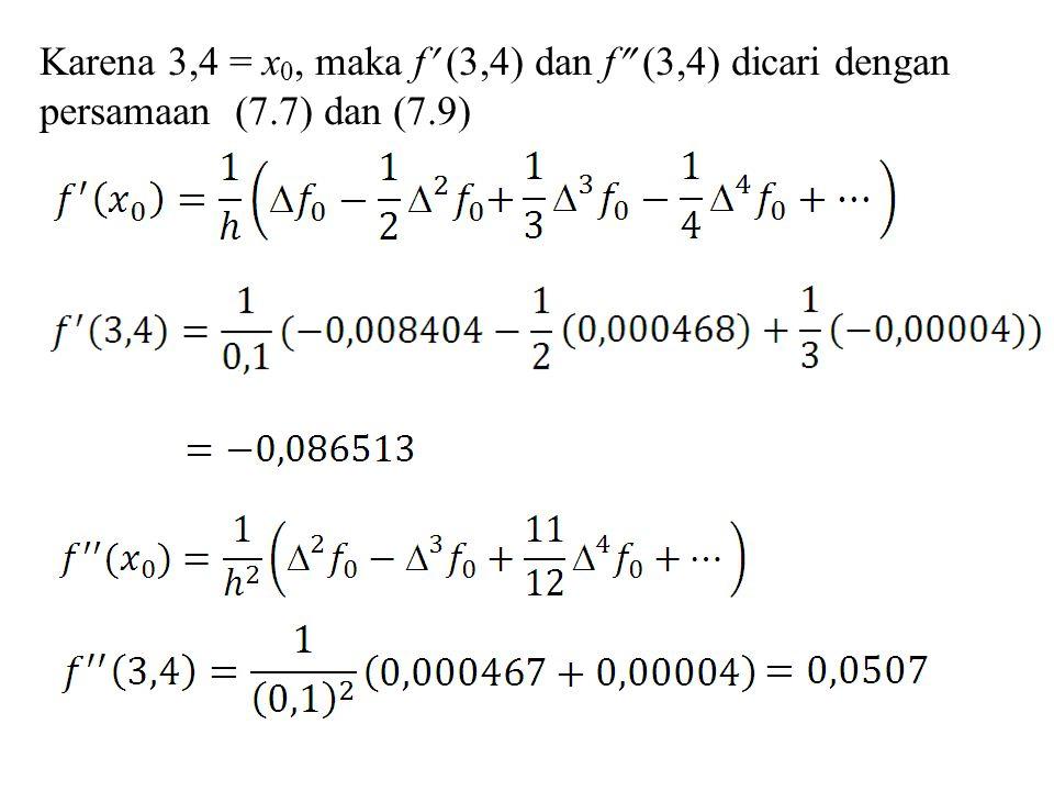 Karena 3,4 = x 0, maka f (3,4) dan f  (3,4) dicari dengan persamaan (7.7) dan (7.9)
