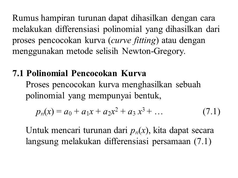 Turunan ke dua Jika x = x 0, maka s = 0, sehingga (7.13) (7.14)