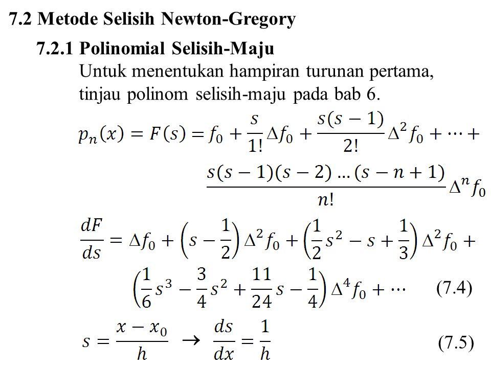 Turunan pertama Jika x = x 0, maka s = 0, sehingga (7.6) (7.7)