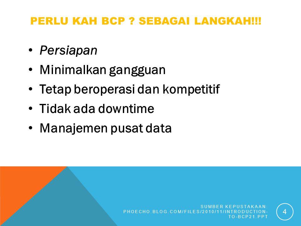 PERLU KAH BCP ? SEBAGAI LANGKAH!!! Persiapan Minimalkan gangguan Tetap beroperasi dan kompetitif Tidak ada downtime Manajemen pusat data SUMBER KEPUST