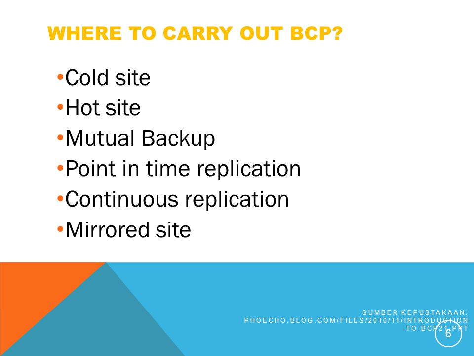 WHERE TO CARRY OUT BCP? Cold site Hot site Mutual Backup Point in time replication Continuous replication Mirrored site SUMBER KEPUSTAKAAN: PHOECHO.BL