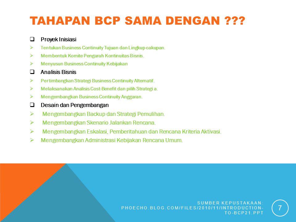 TAHAPAN BCP SAMA DENGAN ???  Proyek Inisiasi  Tentukan Business Continuity Tujuan dan Lingkup cakupan.  Membentuk Komite Pengarah Kontinuitas Bisni