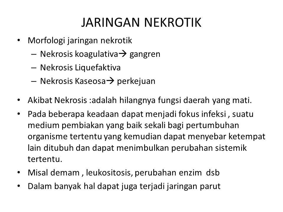 JARINGAN NEKROTIK Morfologi jaringan nekrotik – Nekrosis koagulativa  gangren – Nekrosis Liquefaktiva – Nekrosis Kaseosa  perkejuan Akibat Nekrosis
