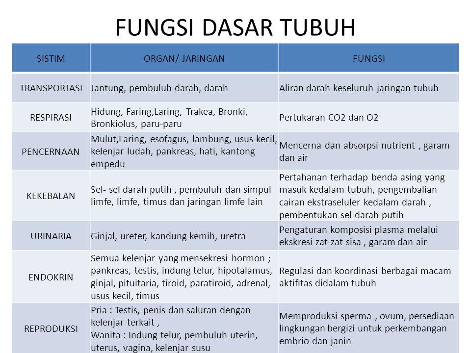 FUNGSI DASAR TUBUH SISTIMORGAN/ JARINGANFUNGSI TRANSPORTASIJantung, pembuluh darah, darahAliran darah keseluruh jaringan tubuh RESPIRASI Hidung, Farin