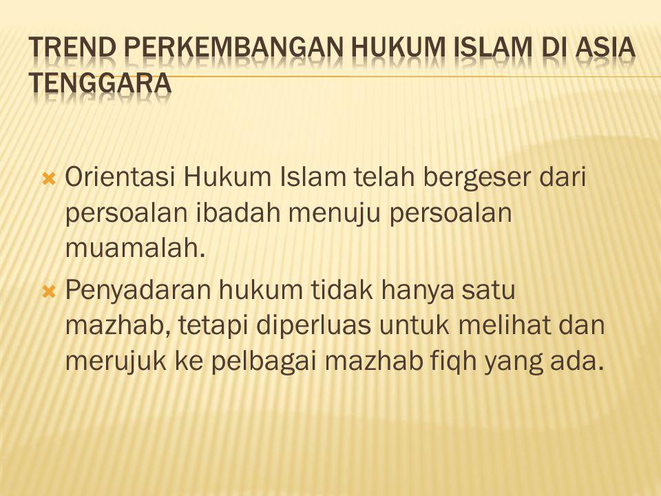  Orientasi Hukum Islam telah bergeser dari persoalan ibadah menuju persoalan muamalah.  Penyadaran hukum tidak hanya satu mazhab, tetapi diperluas u