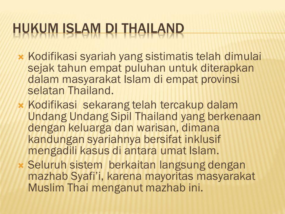  Kodifikasi syariah yang sistimatis telah dimulai sejak tahun empat puluhan untuk diterapkan dalam masyarakat Islam di empat provinsi selatan Thailan