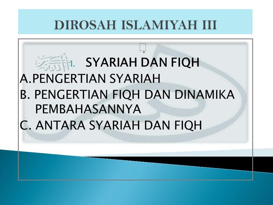  I.SYARIAH DAN FIQH A.PENGERTIAN SYARIAH B. PENGERTIAN FIQH DAN DINAMIKA PEMBAHASANNYA C.