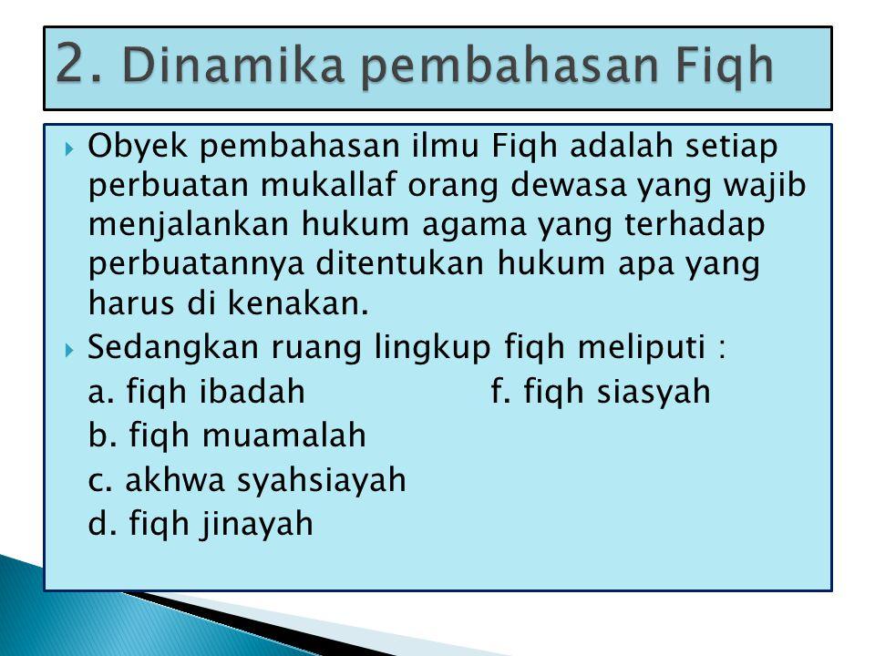 OObyek pembahasan ilmu Fiqh adalah setiap perbuatan mukallaf orang dewasa yang wajib menjalankan hukum agama yang terhadap perbuatannya ditentukan hukum apa yang harus di kenakan.