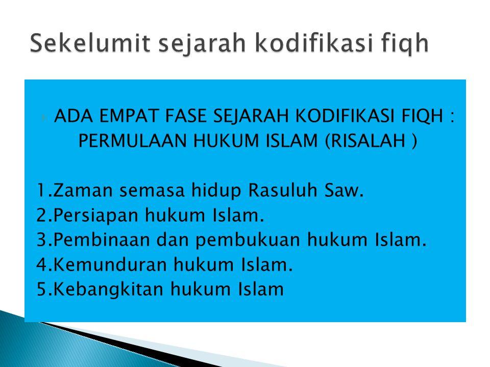  ADA EMPAT FASE SEJARAH KODIFIKASI FIQH : PERMULAAN HUKUM ISLAM (RISALAH ) 1.Zaman semasa hidup Rasuluh Saw.