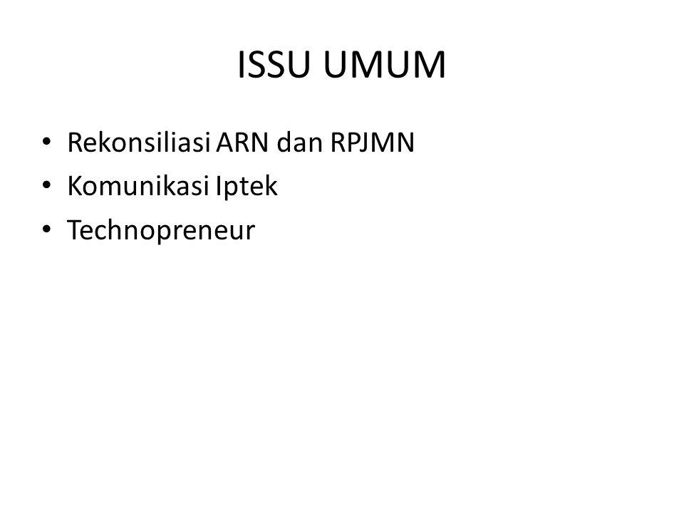 ISSU UMUM Rekonsiliasi ARN dan RPJMN Komunikasi Iptek Technopreneur