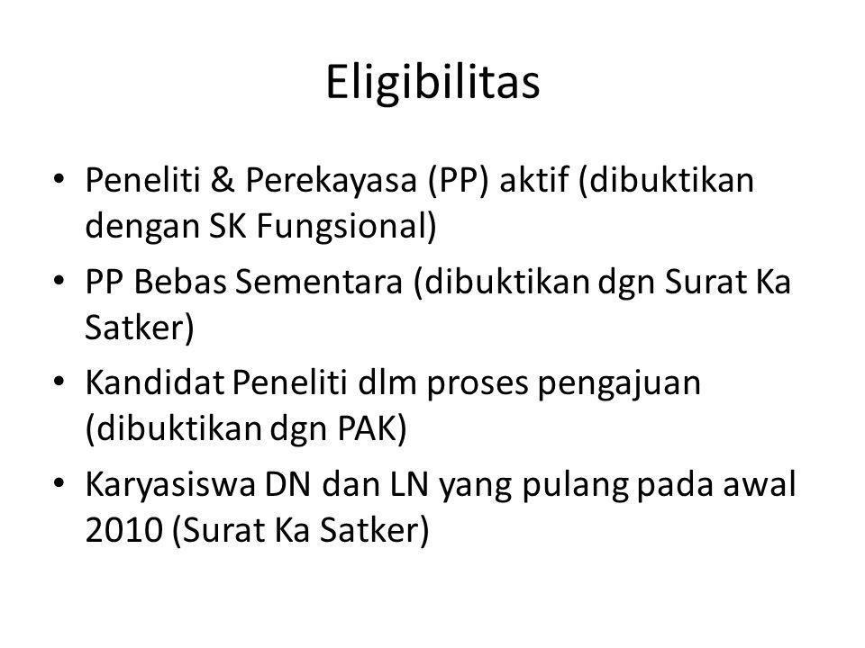 Eligibilitas Peneliti & Perekayasa (PP) aktif (dibuktikan dengan SK Fungsional) PP Bebas Sementara (dibuktikan dgn Surat Ka Satker) Kandidat Peneliti