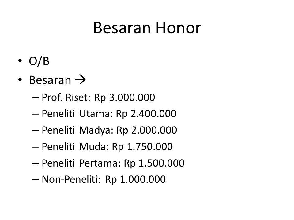 Besaran Honor O/B Besaran  – Prof. Riset: Rp 3.000.000 – Peneliti Utama: Rp 2.400.000 – Peneliti Madya: Rp 2.000.000 – Peneliti Muda: Rp 1.750.000 –