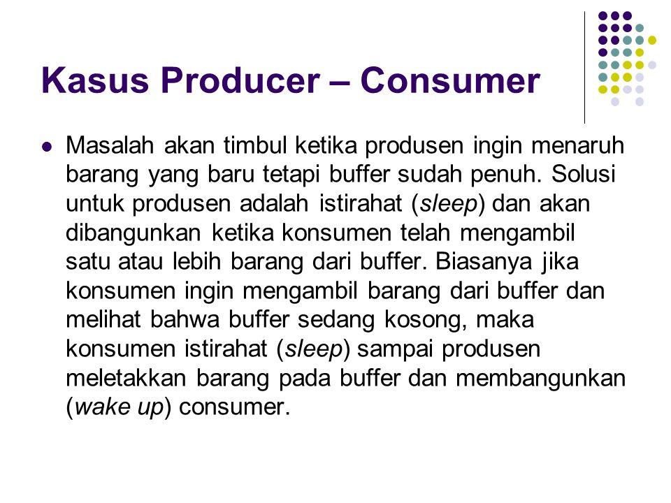 Kasus Producer – Consumer Masalah akan timbul ketika produsen ingin menaruh barang yang baru tetapi buffer sudah penuh. Solusi untuk produsen adalah i