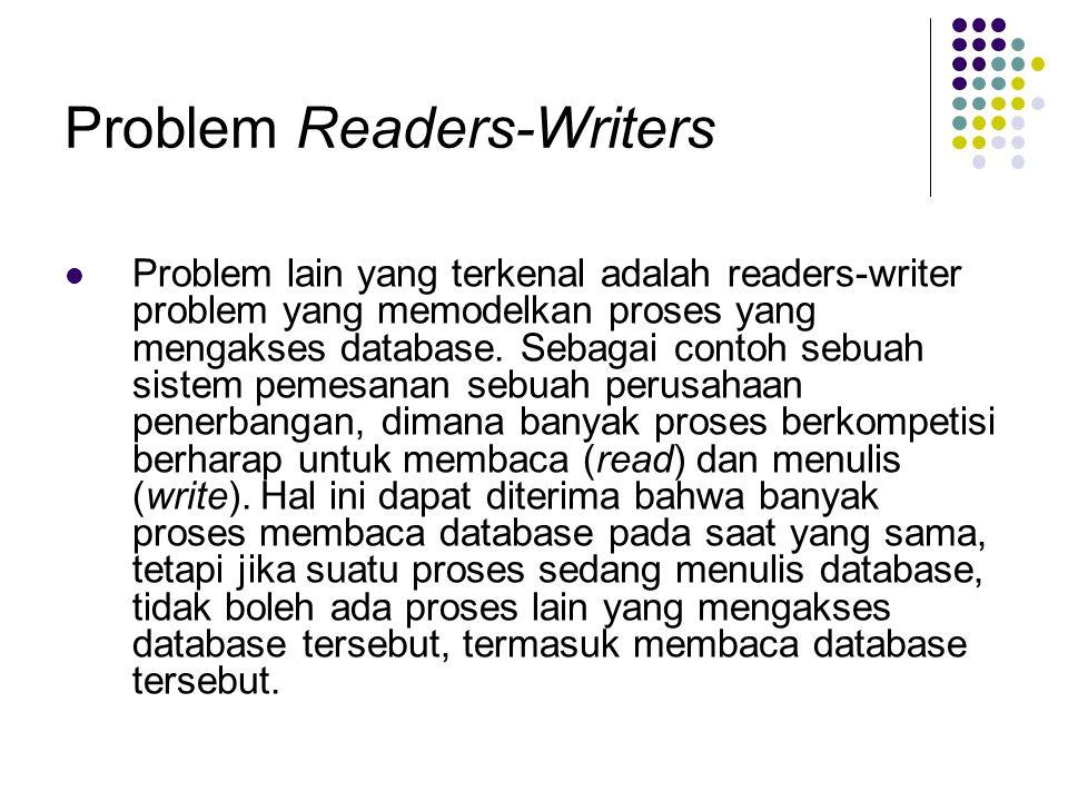 Problem Readers-Writers Problem lain yang terkenal adalah readers-writer problem yang memodelkan proses yang mengakses database. Sebagai contoh sebuah