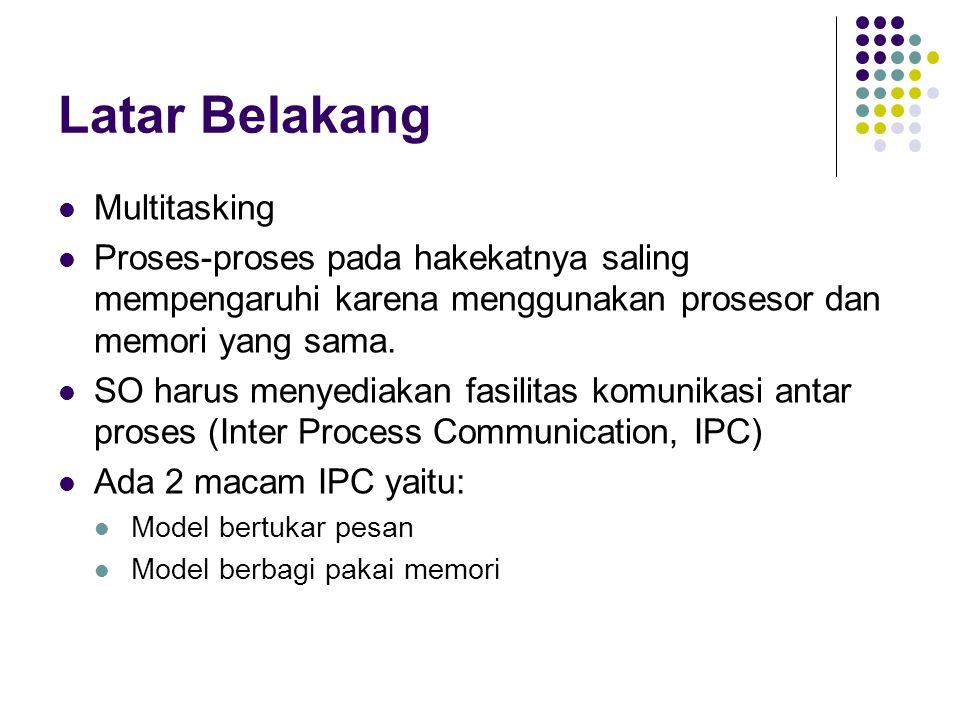 Bounded Buffer Kasus Producer – Consumer Dua proses berbagi sebuah buffer dengan ukuran yang tetap.