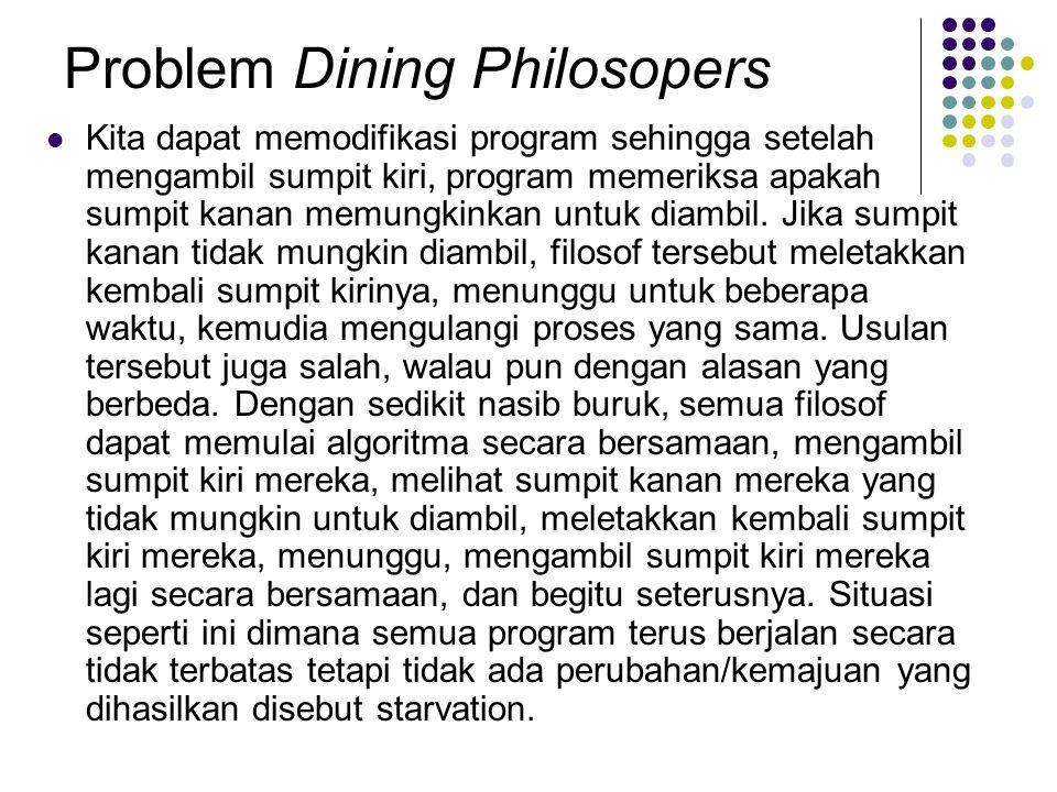 Problem Dining Philosopers Kita dapat memodifikasi program sehingga setelah mengambil sumpit kiri, program memeriksa apakah sumpit kanan memungkinkan