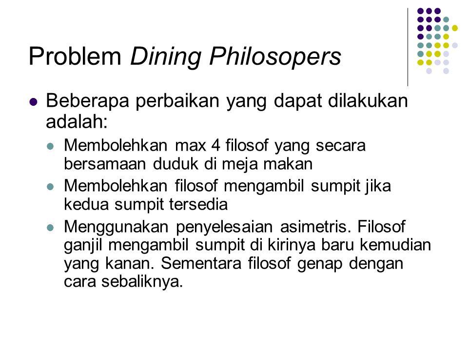 Problem Dining Philosopers Beberapa perbaikan yang dapat dilakukan adalah: Membolehkan max 4 filosof yang secara bersamaan duduk di meja makan Membole